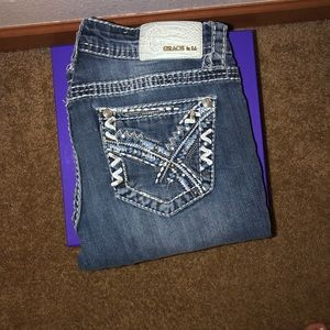 Grace Blue and White Decal Boot Cut Jeans